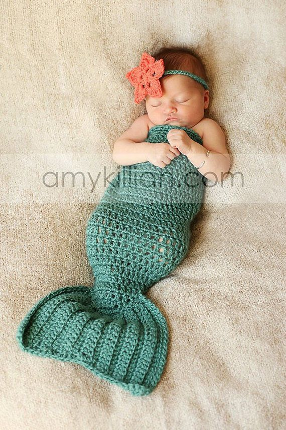 Newborn Baby Girl Crochet Mermaid Photography Photo Prop Outfit