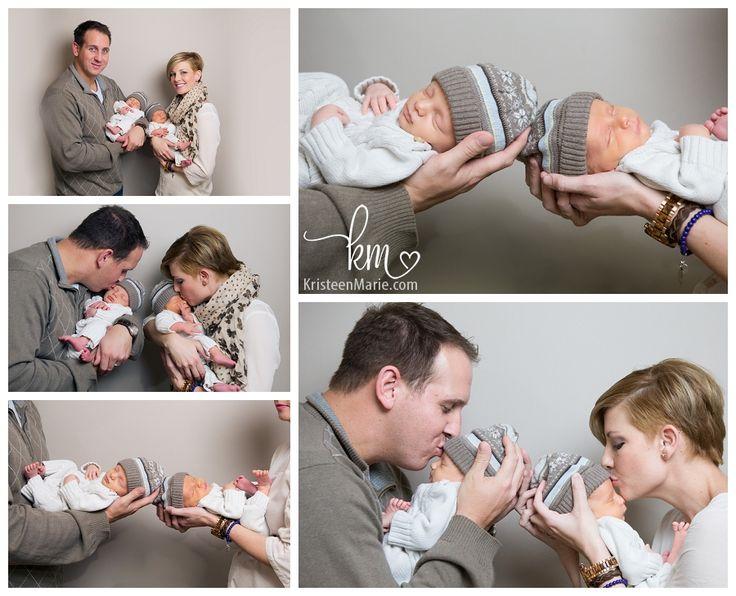 Description newborn twin boys with parents
