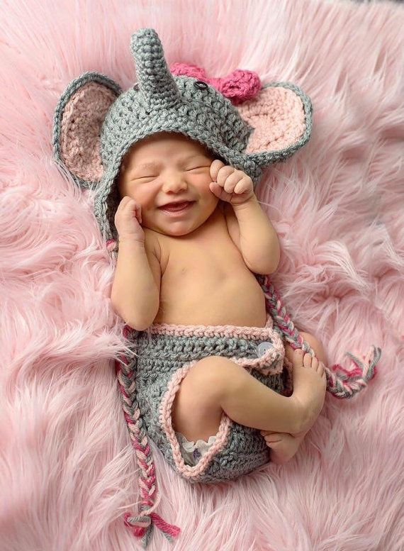 12cce0ab334 Inspiration For New Born Baby Photography   Elephant Outfit Photo ...